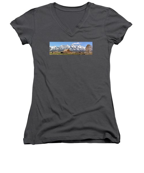 Moulton Barn Blue Sky Panorama Women's V-Neck T-Shirt (Junior Cut) by Adam Jewell