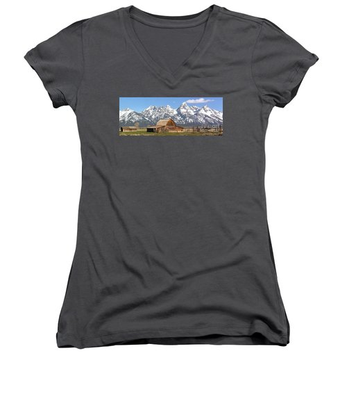 Moulton Barn Homestead Spring Panorama Women's V-Neck T-Shirt (Junior Cut) by Adam Jewell