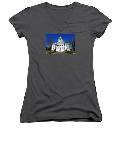 Moultrie Courthouse Women's V-Neck T-Shirt (Junior Cut) by Carla Parris