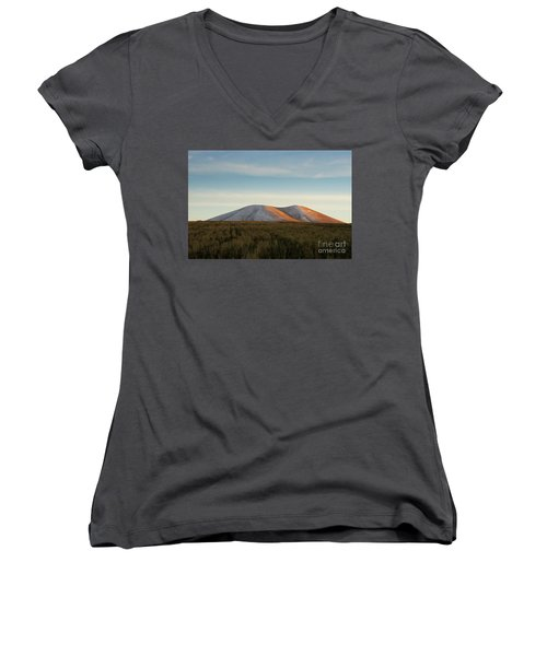 Mount Gutanasar In Front Of Wheat Field At Sunset, Armenia Women's V-Neck T-Shirt (Junior Cut) by Gurgen Bakhshetsyan