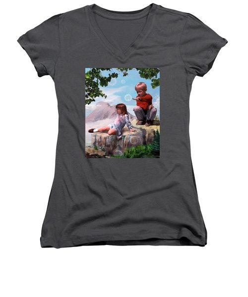 Women's V-Neck T-Shirt (Junior Cut) featuring the painting Mount Innocence by Steve Karol