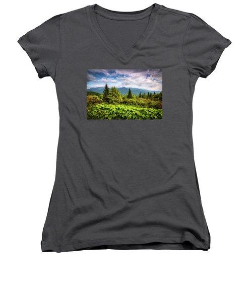 Mount Mitchell Asheville Nc Blue Ridge Parkway Mountains Landscape Women's V-Neck