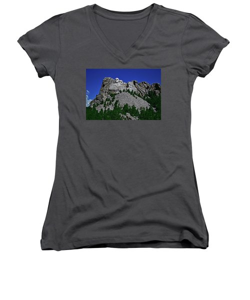 Women's V-Neck T-Shirt (Junior Cut) featuring the photograph Mount Rushmore 001 by George Bostian