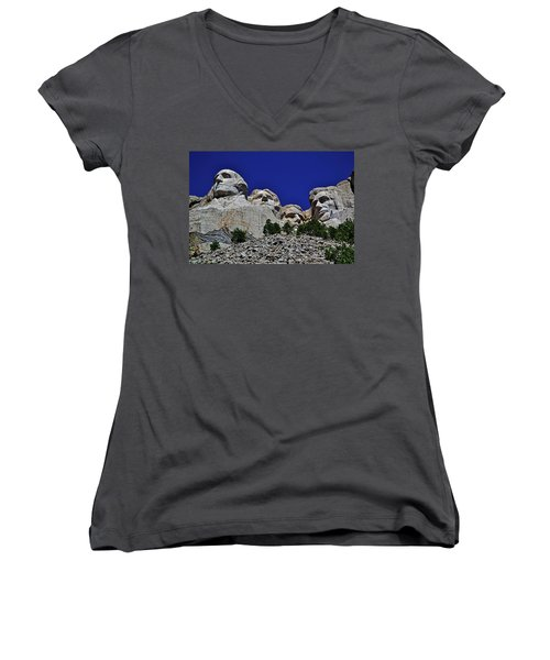 Women's V-Neck T-Shirt (Junior Cut) featuring the photograph Mount Rushmore 007 by George Bostian