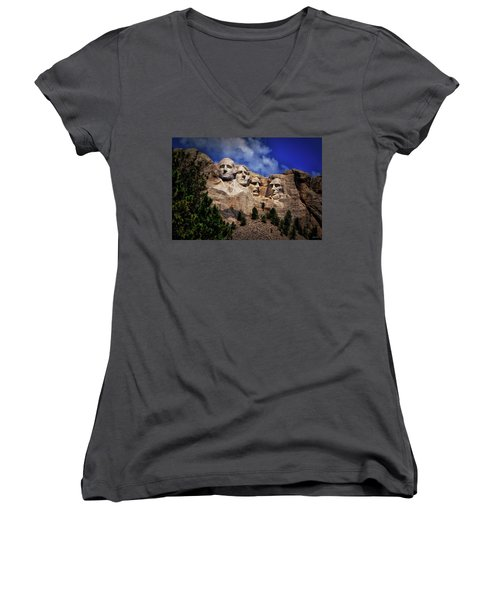 Mount Rushmore 008 Women's V-Neck T-Shirt (Junior Cut) by George Bostian