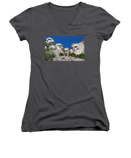 Mount Rushmore Close Up View Women's V-Neck T-Shirt (Junior Cut) by Matt Harang