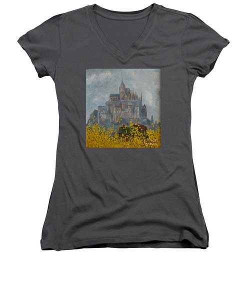 Women's V-Neck T-Shirt featuring the painting Mount Saint Michael by Rod Ismay