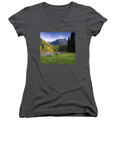 Mount Sneffels In Autumnn Women's V-Neck (Athletic Fit)