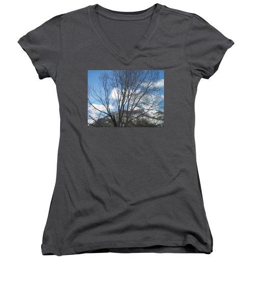 Women's V-Neck T-Shirt (Junior Cut) featuring the photograph Mountain Backdrop by Jewel Hengen