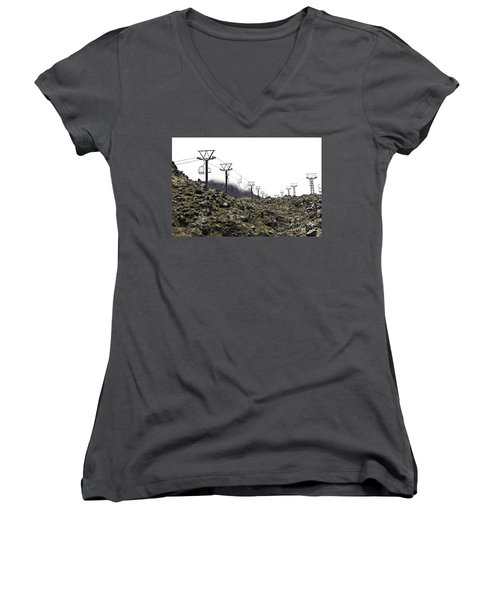 Women's V-Neck T-Shirt (Junior Cut) featuring the photograph Mountain Cable Road Waiting For Snow. Mount Ruapehu. New Zealand by Yurix Sardinelly