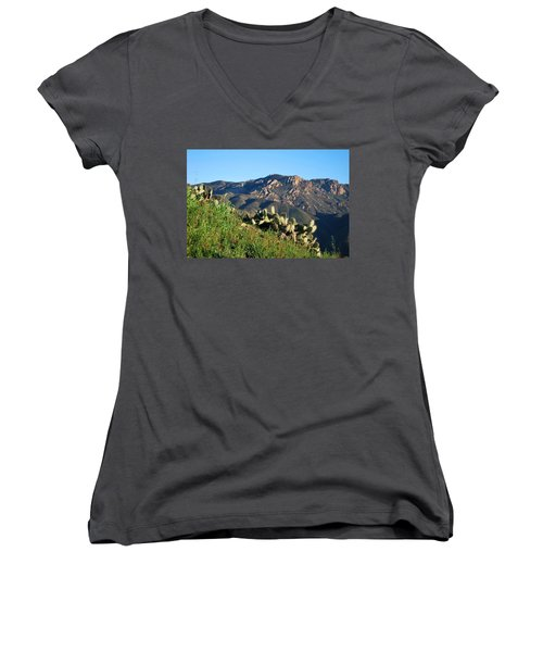 Mountain Cactus View - Santa Monica Mountains Women's V-Neck (Athletic Fit)