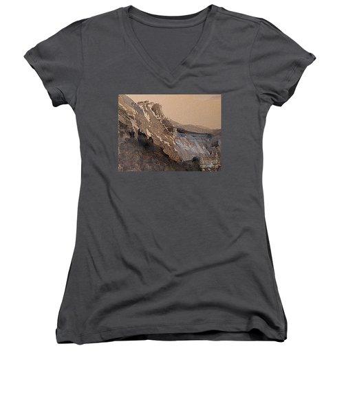 Mountain Cliff Women's V-Neck T-Shirt (Junior Cut) by Nancy Kane Chapman