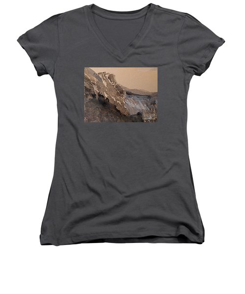 Mountain Cliff Women's V-Neck (Athletic Fit)