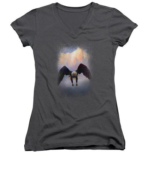 Mountain Flight Women's V-Neck T-Shirt (Junior Cut) by Jai Johnson