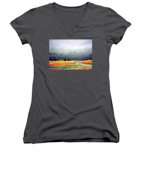 Women's V-Neck T-Shirt (Junior Cut) featuring the painting Mountain Flowers Valley by Samiran Sarkar