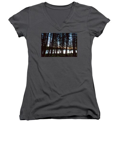 Women's V-Neck T-Shirt (Junior Cut) featuring the photograph Mountain Forest Lake by James BO Insogna
