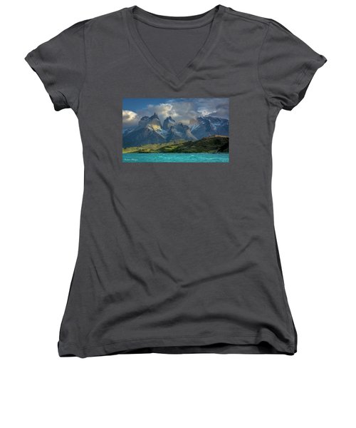 Women's V-Neck T-Shirt (Junior Cut) featuring the photograph Mountain Glimmer by Andrew Matwijec
