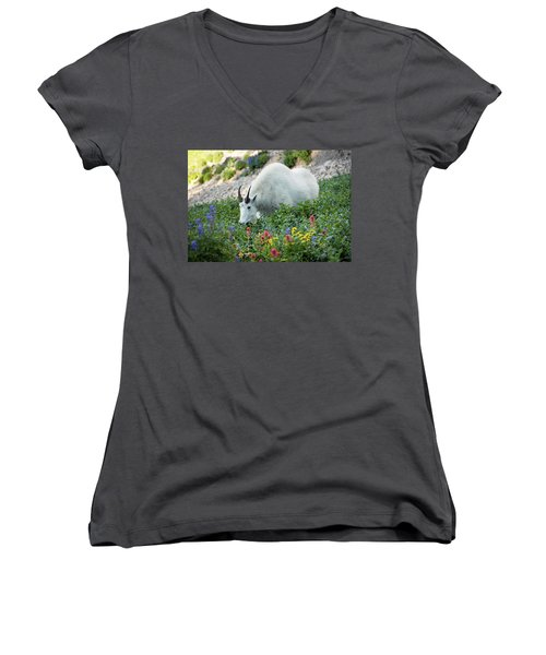 Mountain Goat On Timp Women's V-Neck (Athletic Fit)