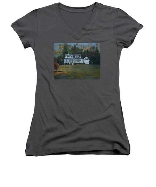 Women's V-Neck T-Shirt featuring the painting  Mountain Home At Dusk by Jan Dappen