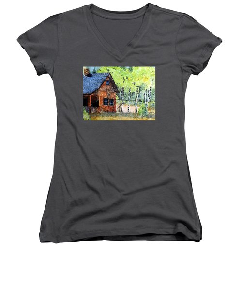 Mountain Home Women's V-Neck T-Shirt (Junior Cut) by Tom Riggs
