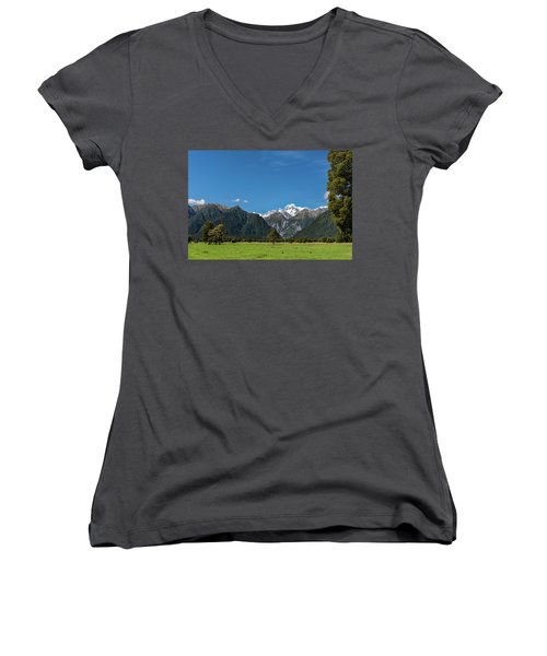 Women's V-Neck T-Shirt featuring the photograph Mountain Landscape by Gary Eason