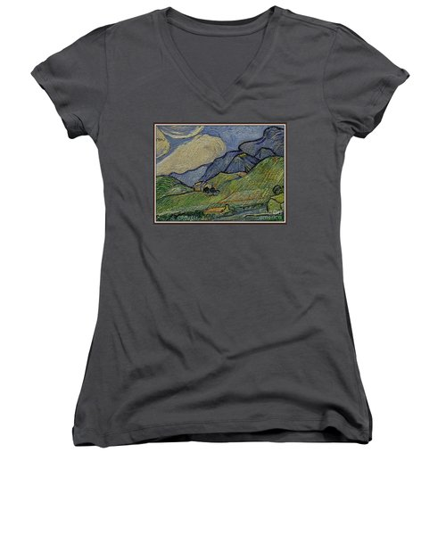Mountain Landscape Women's V-Neck T-Shirt (Junior Cut) by Pemaro