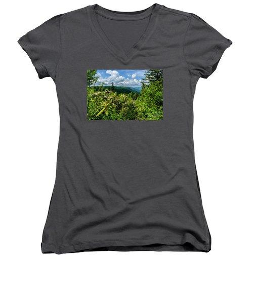 Women's V-Neck T-Shirt (Junior Cut) featuring the photograph Mountain Laurel And Ridges by Thomas R Fletcher