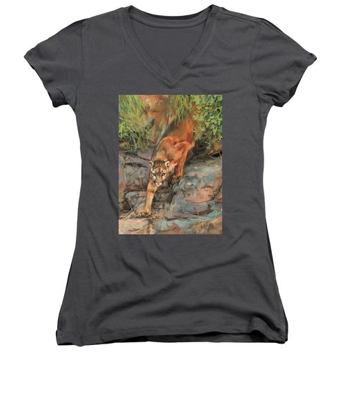 Women's V-Neck T-Shirt (Junior Cut) featuring the painting Mountain Lion 2 by David Stribbling