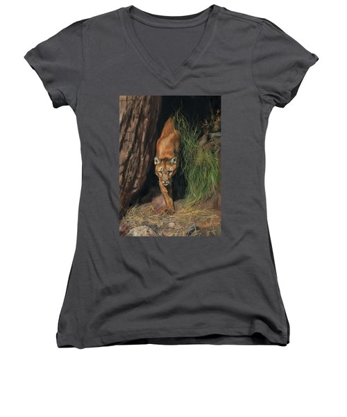 Women's V-Neck T-Shirt (Junior Cut) featuring the painting Mountain Lion Emerging From Shadows by David Stribbling