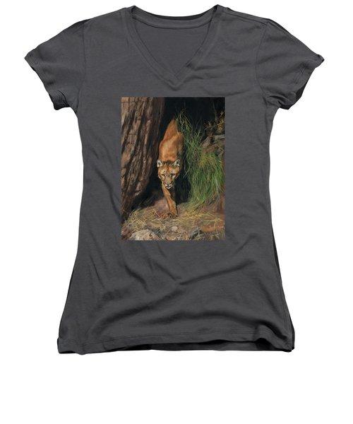 Mountain Lion Emerging From Shadows Women's V-Neck T-Shirt (Junior Cut) by David Stribbling