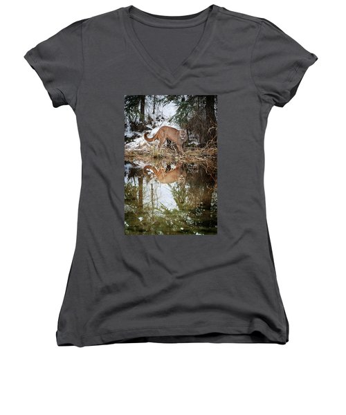 Women's V-Neck featuring the photograph Mountain Lion Reflection by Scott Read