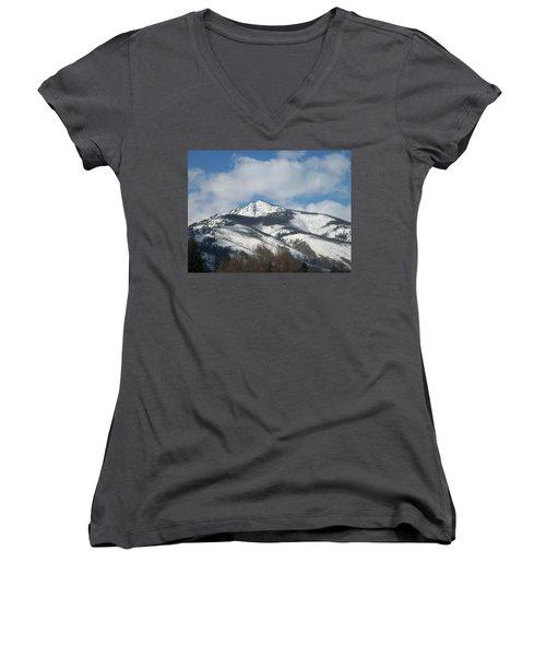 Women's V-Neck T-Shirt (Junior Cut) featuring the photograph Mountain Peak by Jewel Hengen