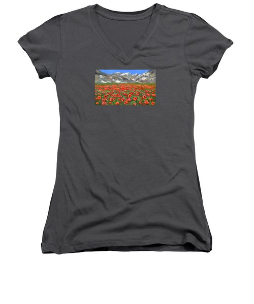 Women's V-Neck T-Shirt (Junior Cut) featuring the painting Mountain Poppies   by Dmitry Spiros