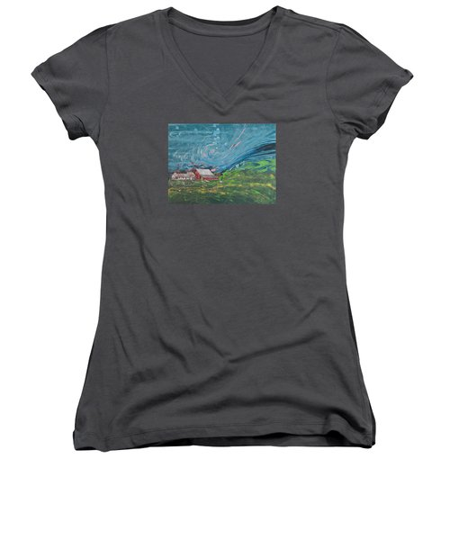 Strong Storm Women's V-Neck T-Shirt (Junior Cut)