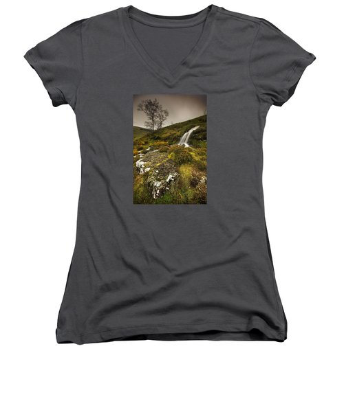 Women's V-Neck T-Shirt (Junior Cut) featuring the photograph Mountain Tears by John Chivers