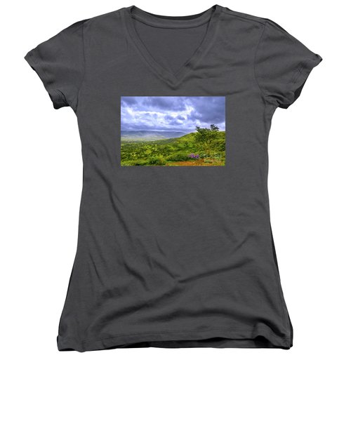 Women's V-Neck T-Shirt (Junior Cut) featuring the photograph Mountain View by Charuhas Images