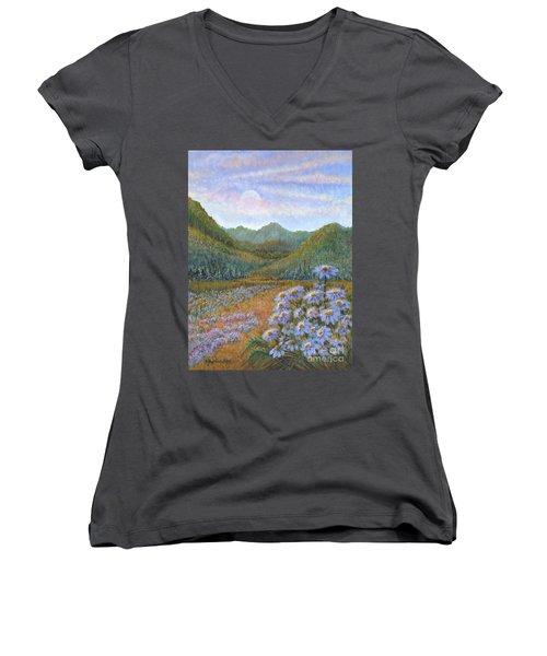 Mountains And Asters Women's V-Neck (Athletic Fit)