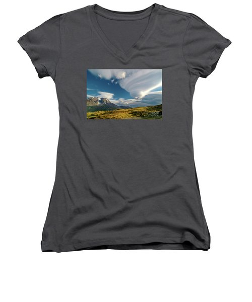 Mountains And Lenticular Cloud In Patagonia Women's V-Neck (Athletic Fit)
