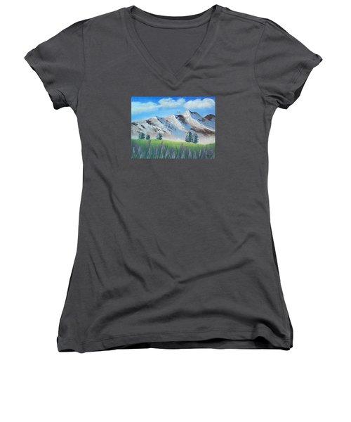 Mountains Women's V-Neck T-Shirt (Junior Cut) by Brenda Bonfield