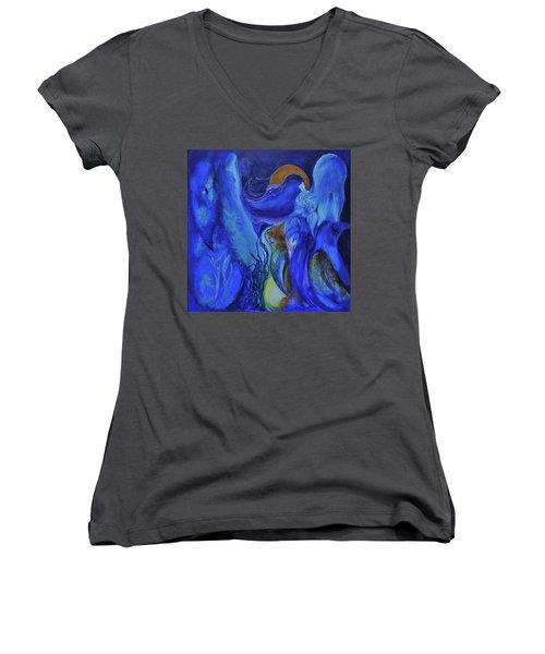 Mourning Birds Of The Final Flower Women's V-Neck T-Shirt