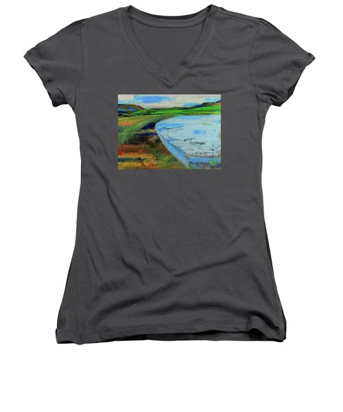 Women's V-Neck T-Shirt featuring the painting Mouth Of The Creek by Walter Fahmy