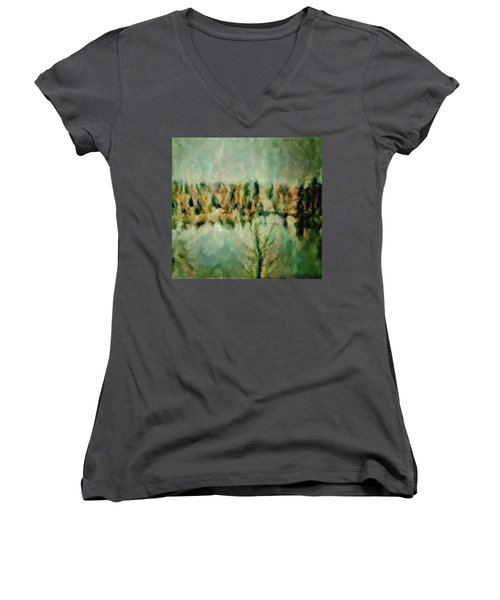 Movie A Chance In The World Placid Lake Frozen In The Winter Fall Ice Bitter Cold Uninviting Cool Pa Women's V-Neck (Athletic Fit)