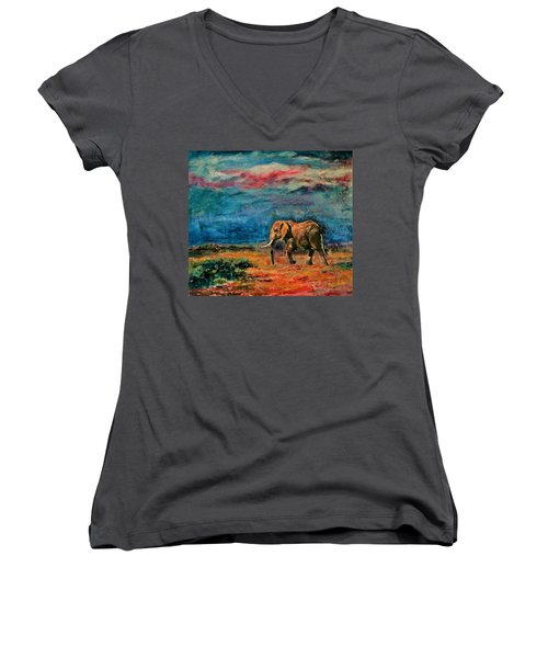 Moving Away Women's V-Neck T-Shirt (Junior Cut) by Khalid Saeed