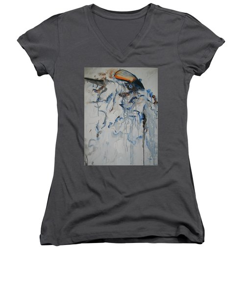 Women's V-Neck T-Shirt (Junior Cut) featuring the painting Moving Forward by Raymond Doward