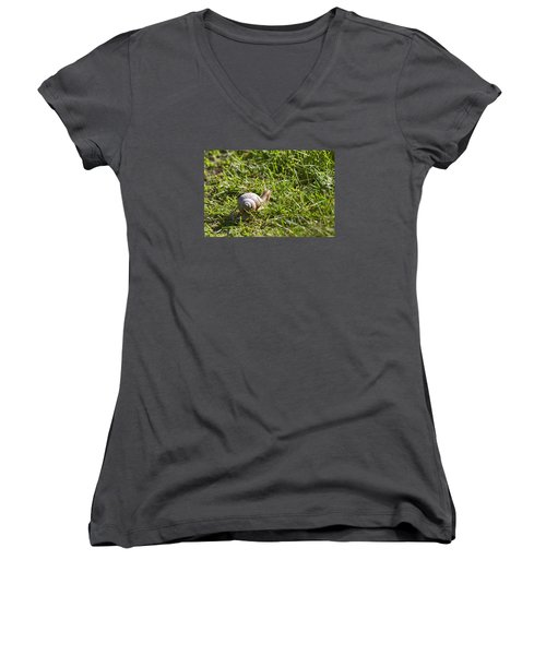 Women's V-Neck T-Shirt (Junior Cut) featuring the photograph Moving by Leif Sohlman