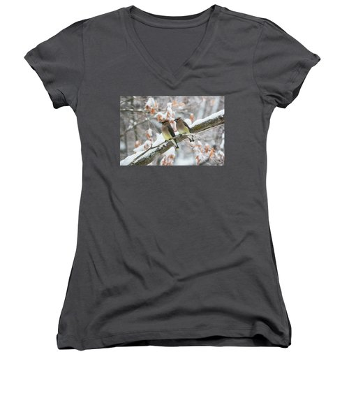 Mr. And Mrs. Cedar Wax Wing Women's V-Neck (Athletic Fit)