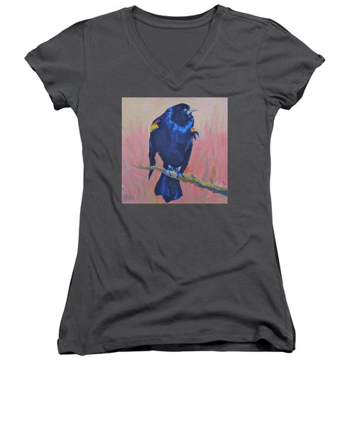 Women's V-Neck T-Shirt (Junior Cut) featuring the painting Mr. Cool  by Francine Frank