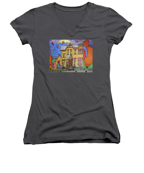 Women's V-Neck T-Shirt (Junior Cut) featuring the drawing Mrs. Robert Stephenson Home. by Jonathon Hansen
