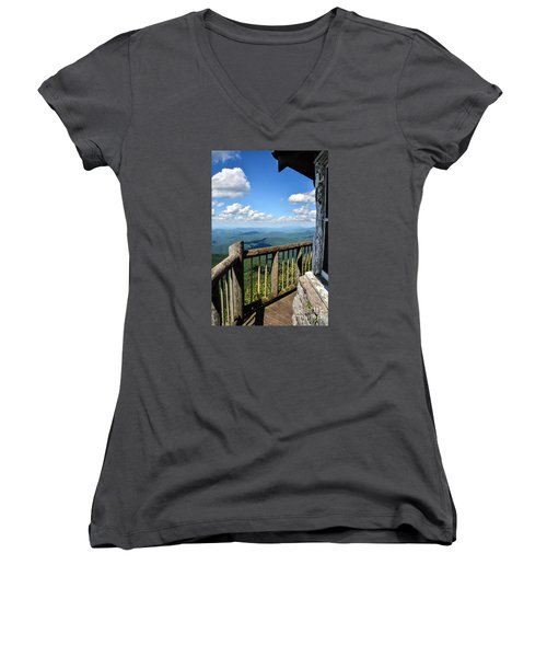 Mt. Cammerer Women's V-Neck T-Shirt (Junior Cut) by Debbie Green