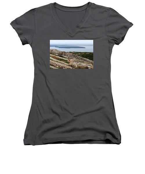 Mt. Destert Island View Women's V-Neck T-Shirt